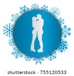 kissing couple christmas icon | Shutterstock .eps vector #755120533