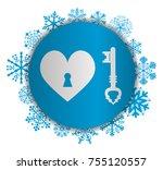 key heart christmas icon   Shutterstock .eps vector #755120557