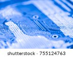 abstract close up of mainboard... | Shutterstock . vector #755124763