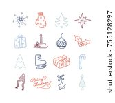 christmas cute icon hand draw... | Shutterstock .eps vector #755128297