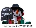 snowman standing in winter... | Shutterstock . vector #755129317