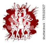 tennis players   women action... | Shutterstock .eps vector #755132527