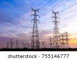 high voltage power tower... | Shutterstock . vector #755146777