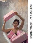 young attractive girl is... | Shutterstock . vector #755158123