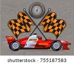 sports car ready to start... | Shutterstock . vector #755187583