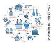 vector linear blue round... | Shutterstock .eps vector #755197417