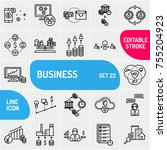 business icons set. finance and ... | Shutterstock .eps vector #755204923