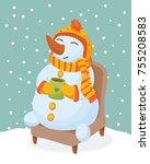 snowman drinks tea | Shutterstock .eps vector #755208583