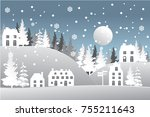 winter snow urban countryside... | Shutterstock .eps vector #755211643