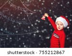 boy decorates painted on the... | Shutterstock . vector #755212867