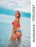 slim body lady outdoor portrait.   Shutterstock . vector #755215567