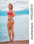 slim body lady outdoor portrait.   Shutterstock . vector #755215573