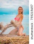 slim body lady outdoor portrait.   Shutterstock . vector #755215657