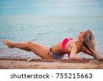 slim body lady outdoor portrait.   Shutterstock . vector #755215663