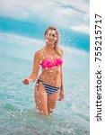 slim body lady outdoor portrait.   Shutterstock . vector #755215717