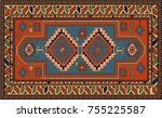 persian carpet  tribal vector... | Shutterstock .eps vector #755225587