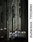 Small photo of Nuremberg, Germany- 26 SEP 2008: A choir sings during Sunday mass at Nuremberg St. Sebaldus church, Germany.