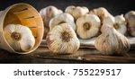 garlic cloves and garlic bulb...   Shutterstock . vector #755229517