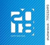 happy new year 2018. vector...   Shutterstock .eps vector #755232493