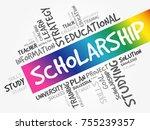 scholarship word cloud collage  ... | Shutterstock .eps vector #755239357