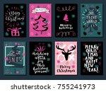 set of merry christmas  happy... | Shutterstock .eps vector #755241973