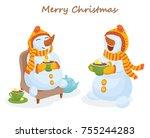 snowman drinks tea  christmas ... | Shutterstock .eps vector #755244283