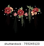patch flowers embroidery | Shutterstock .eps vector #755245123