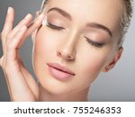 beautiful young woman gets... | Shutterstock . vector #755246353