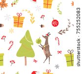 seamless pattern with reindeer  ... | Shutterstock .eps vector #755252083
