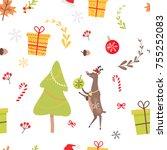 seamless pattern with reindeer  ... | Shutterstock .eps vector #755252083