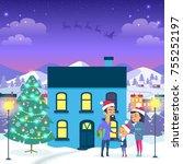 happy family near blue house...   Shutterstock .eps vector #755252197