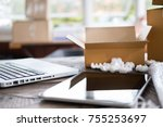 laptop computer at workplace of ... | Shutterstock . vector #755253697