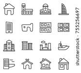 thin line icon set   home ... | Shutterstock .eps vector #755256697