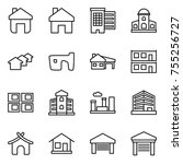 thin line icon set   home ... | Shutterstock .eps vector #755256727
