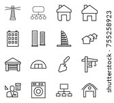 thin line icon set   lighthouse ... | Shutterstock .eps vector #755258923