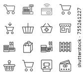 thin line icon set   cart ... | Shutterstock .eps vector #755261227
