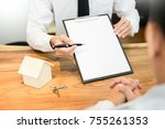 customer signing contract ... | Shutterstock . vector #755261353