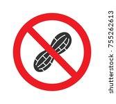 forbidden sign with peanut... | Shutterstock .eps vector #755262613