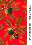 seamless tropical pattern with... | Shutterstock .eps vector #755275333