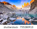 torres del paine  chile  ... | Shutterstock . vector #755280913