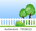 two trees on the green lawn... | Shutterstock . vector #75528112