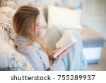 white cozy bed and a beautiful... | Shutterstock . vector #755289937