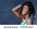 close up studio beauty portrait ...   Shutterstock . vector #755291047