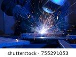 welder erecting technical steel.... | Shutterstock . vector #755291053