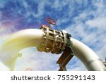 pipes and valves against blue... | Shutterstock . vector #755291143