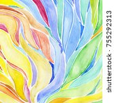abstract hand drawn watercolor... | Shutterstock . vector #755292313