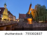 historic wooden crane and old... | Shutterstock . vector #755302837