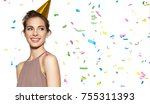 happy smiling girl with festive ... | Shutterstock . vector #755311393