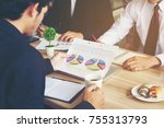 employee or marketing teams are ... | Shutterstock . vector #755313793