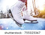 close up of woman ice skating... | Shutterstock . vector #755325367